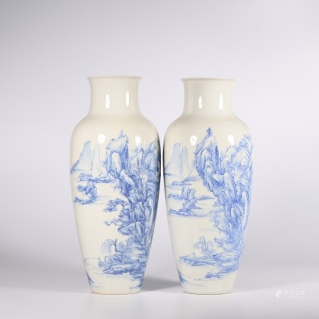 Qing Dynasty Qianlong blue and white vase