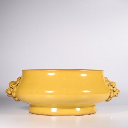 Qing Dynasty Qianlong Yellow Glazed Lion Ear Furnace
