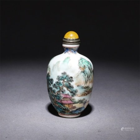 A pastel mountain hermit painting poetry snuff bottle