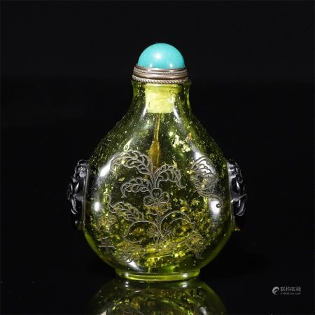 A Material shoutao poem text picture snuff bottle