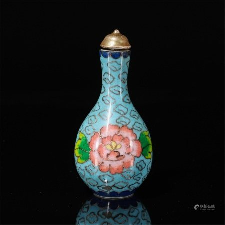 A snuff bottle with enamel flowers painted on porcelain