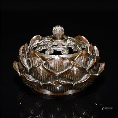A copper lotus hollow censer