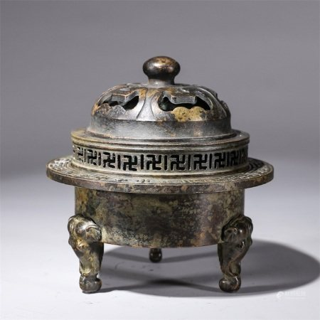 A hollowed out elephant foot censer