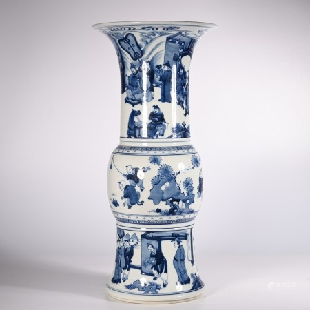 Qing Dynasty blue and white character bottle