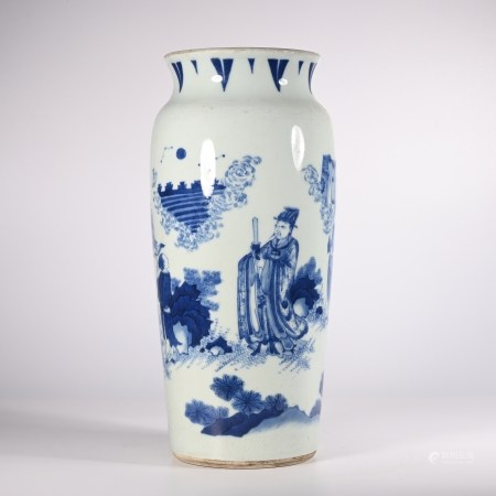 Qing Dynasty blue and white character story bottle