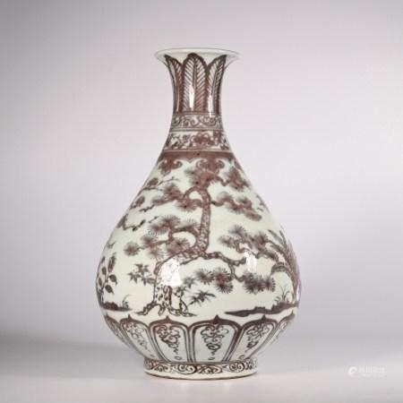 Hongwu glazed red jade pot spring vase in Ming Dynasty