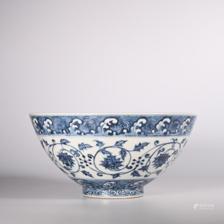 Xuande blue and white lotus bowl in Ming Dynasty