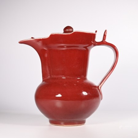 Xuande red glazed monk hat pot in Ming Dynasty