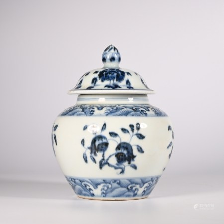 Ming Dynasty Xuande blue and white lid jar