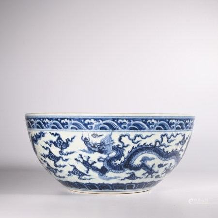 Xuande blue and white dragon screen in Ming Dynasty