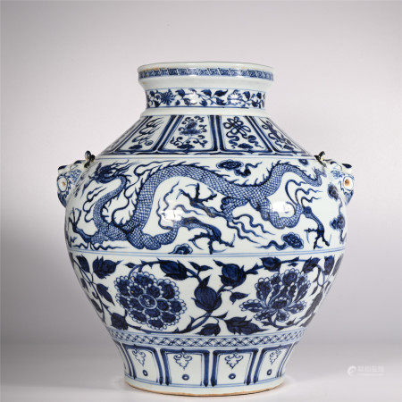 Blue and white dragon shaped jar of Yuan Dynasty