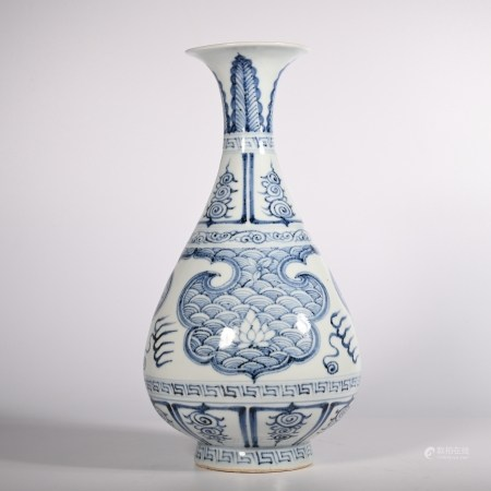 Blue and white jade pot spring vase of Yuan Dynasty