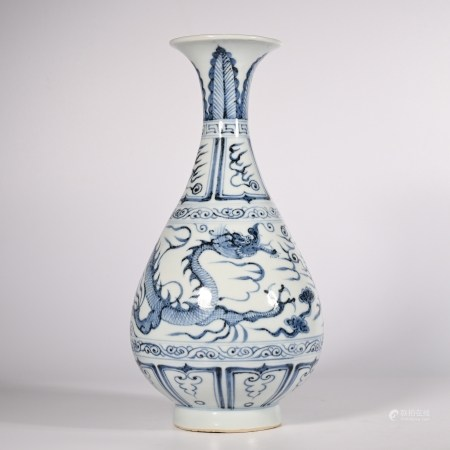 Blue and white jade pot spring vase with dragon pattern in Yuan Dynasty