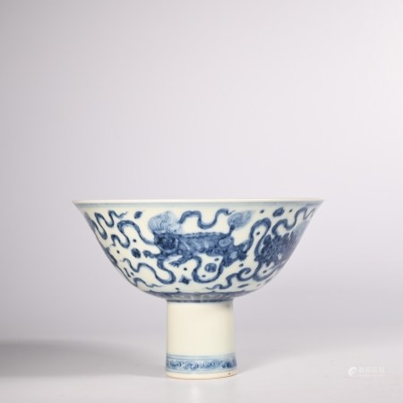 Ming Chenghua blue and white goblet with animal pattern