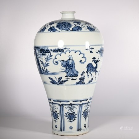 Blue and white plum vase in Yuan Dynasty