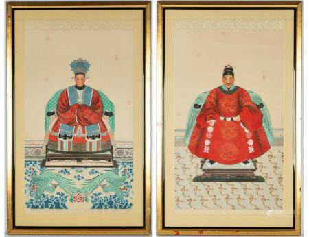 (2) Chinese Court Paintings on Silk