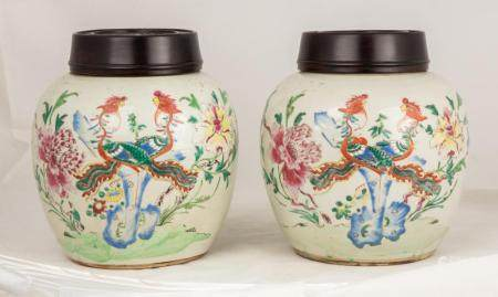 Pair of 18th Century Famille Rose Ginger Jars