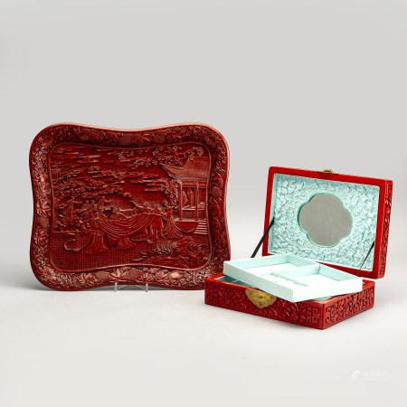 Bricka samt smyckesskrin Kina lackarbeten 1900-talets första hälft/mitt