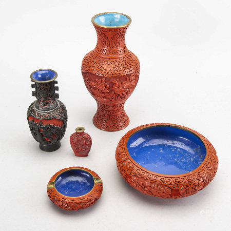 A set fo five Chinese lacquer vases and bowls first half of the 20th century