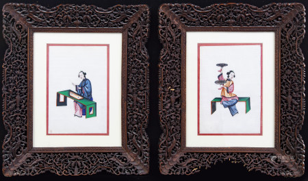 A set of two Chinese watercolours later part of the 19th century
