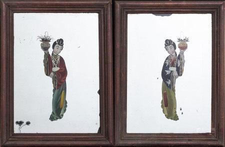 Spegelmålningar ett par Kina 1900-tal