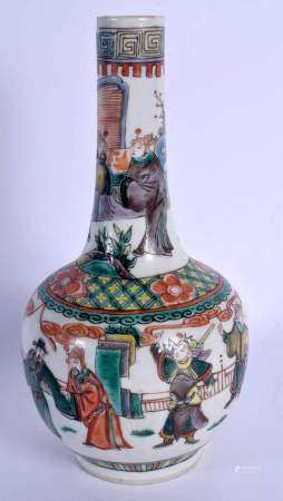 A 19TH CENTURY CHINESE FAMILLE VERTE PORCELAIN BULBOUS VASE Kangxi style, painted with figures withi
