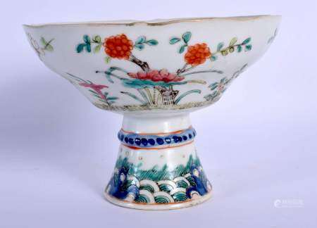 A 19TH CENTURY CHINESE FAMILLE ROSE PORCELAIN TAZZA Guangxu, painted with flowers. 10 cm x 13 cm.