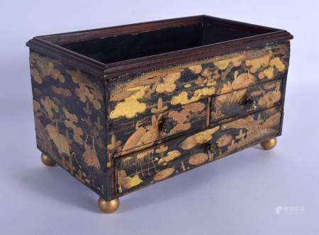 AN 18TH CENTURY JAPANESE EDO PERIOD BLACK LACQUER DESK CHEST CABINET decorated with gold foliage and