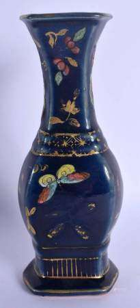 AN 18TH/19TH CENTURY CHINESE POWDER BLUE PORCELAIN VASE Qianlong/Jiaqing, enamelled with butterflies