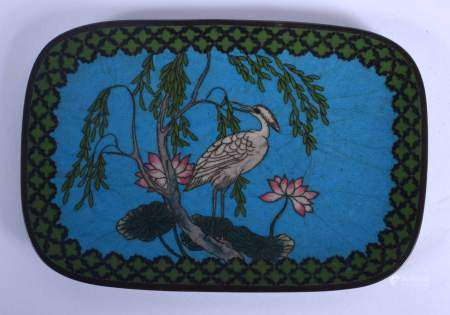 A 19TH CENTURY JAPANESE MEIJI PERIOD CLOISONNE ENAMEL DISH decorated with a bird within a landscape.