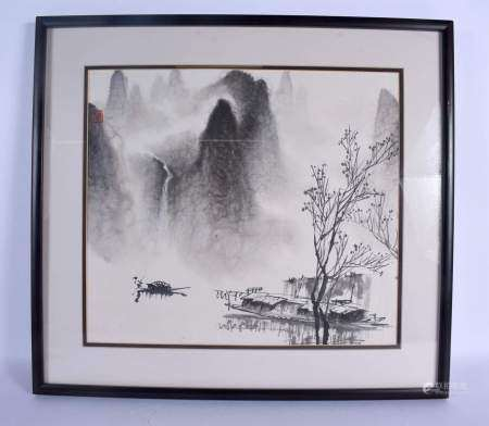 A CHINESE INK WORK BLACK AND WHITE LANDSCAPE PAINTING by Zhong Qi Min. Image 43 cm x 34 cm.