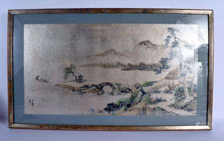 A PAIR OF EARLY 20TH CENTURY CHINESE INK WORK WATERCOLOUR LANDSCAPE by Yen Hui, depicting landscapes