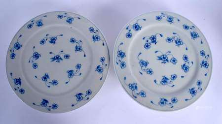 A PAIR OF LATE 19TH CENTURY JAPANESE MEIJI PERIOD BLUE AND WHITE TAZZA painted with floral sprays. 2
