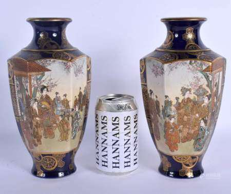 A PAIR OF 19TH CENTURY JAPANESE MEIJI PERIOD SATSUMA VASES painted with samurai and geisha within la