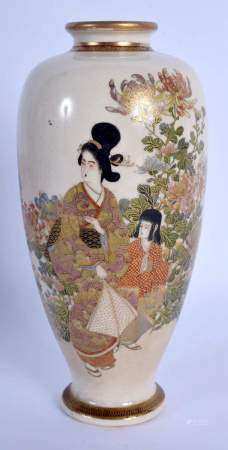 A LATE 19TH CENTURY JAPANESE MEIJI PERIOD SATSUMA VASE painted with geisha within landscape. 16 cm h