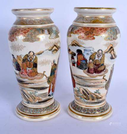 A PAIR OF LATE 19TH CENTURY JAPANESE MEIJI PERIOD SATSUMA VASES painted with immortals within landsc