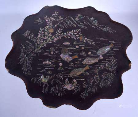 A VERY RARE 19TH CENTURY KOREAN MOTHER OF PEARL INLAID LACQUER TABLE Joseon Dynasty, decorated with