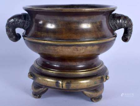 A RARE 19TH CENTURY CHINESE BRONZE CENSER ON STAND Qing, formed with bamboo type handles, of natural