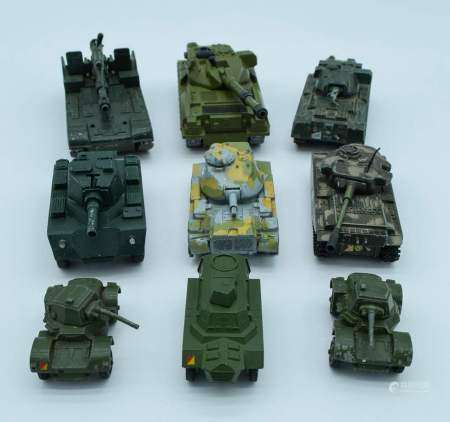Collection of Vintage Dinky military model Tanks. (qty)
