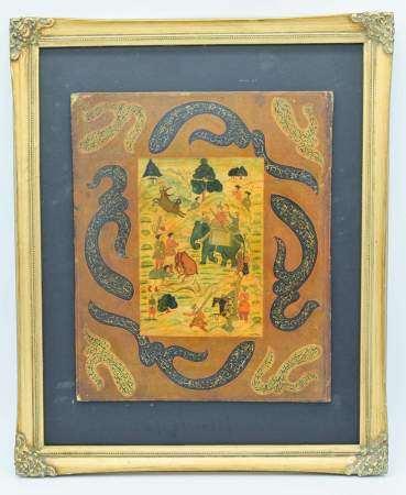 A framed 19th Century Iranian Qajar depicting a hunting scene 31 x 38 cm .