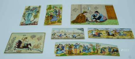 Collection of Iranian small pictures painted on Ivory largest 16 x 10cm. (7)