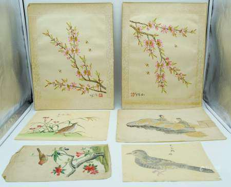 Collection of Chinese watercolours and silks largest 36cm x 29cm (6)