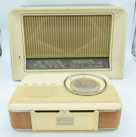 A vintage Bush radio together with a His masters voice radiogram largest 32 x 50cm .(2)