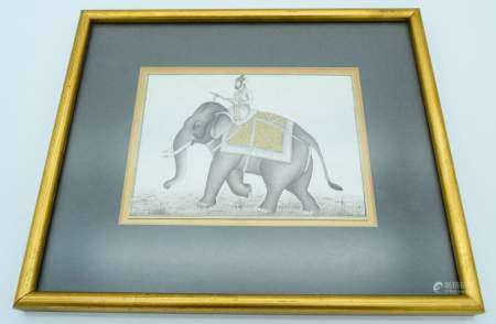 An Indian Painted ivory panel depicting an elephant 15.5 x 11 cm .