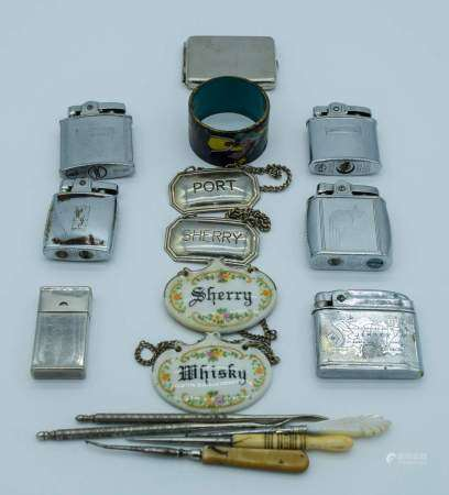 Collection of Lighters, button hole threaders and decanter labels Qty.