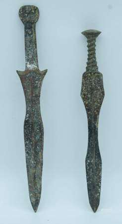 Two Chinese bronze swords 38cm (2).