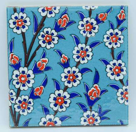 An Islamic floral pattern tile 20 x 20cm .