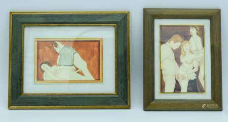 Two framed erotic pictures 10 x 15cm (2).
