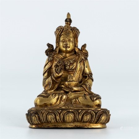 Ming dynasty, gilt bronze seated statue of Padmasambhava buddha