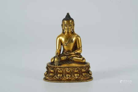 Early Ming dynasty, gilt bronze statue of Sakyamuni buddha